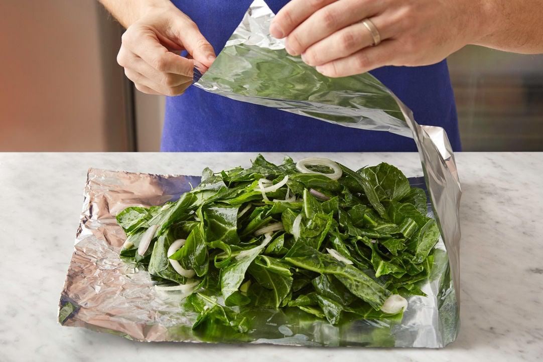 Assemble the collard greens packet: