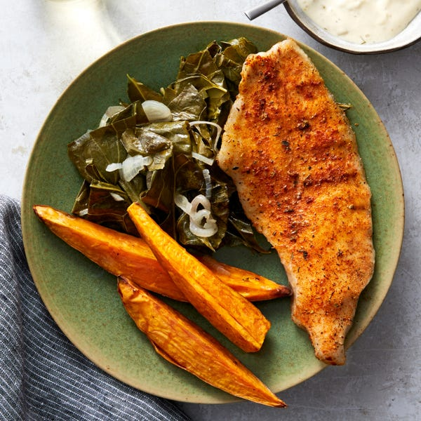 Sheet Pan Cajun Catfish with Collard Greens & Sweet Potato Wedges