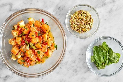 Prepare the remaining ingredients & make the orange salsa