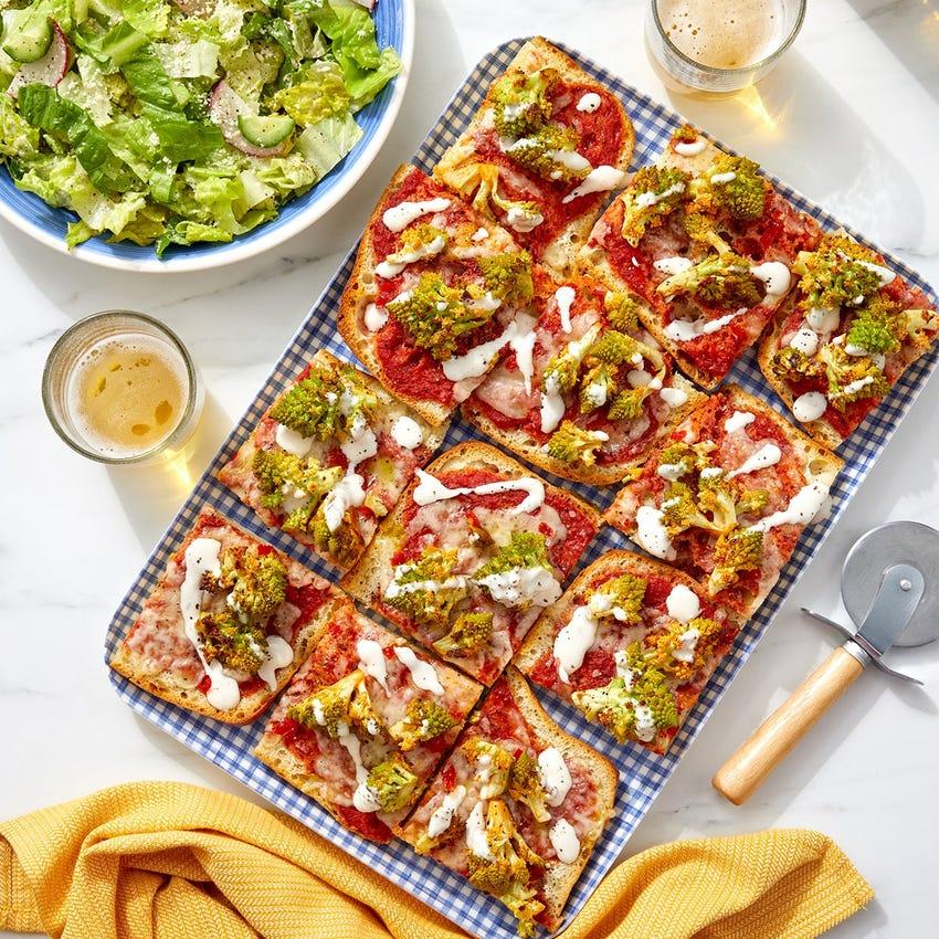 Buffalo Cauliflower Pizza with Caesar Salad