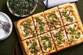 Yellow Tomato & Basil Pesto Pizza with Kale Caesar Salad