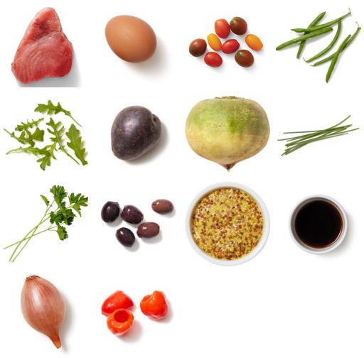 Ahi Tuna Niçoise Salad with Purple Potatoes & Sherry-Dijon Vinaigrette
