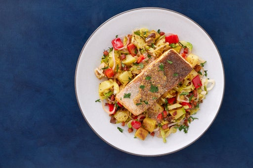 Crispy Steelhead Trout & Creamy Dijon Sauce with Pancetta, Potatoes & Brussels Sprouts