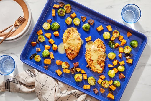 Sheet Pan Panko-Crusted Chicken with Vegetables & Maple-Mustard Sauce