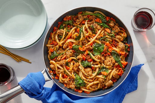One-Pan Spicy Pork Udon with Carrots, Spinach & Sesame Seeds