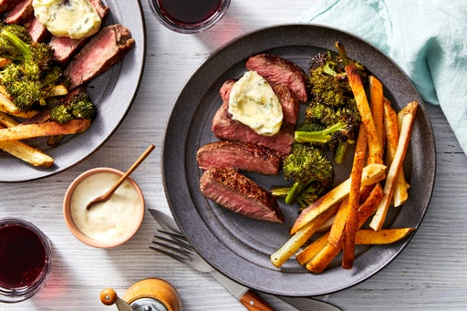 Seared Steaks & Thyme Butter with Oven Fries & Lemon Aioli