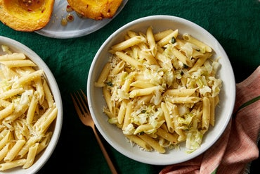 Cabbage & Sage Pasta with Roasted Acorn Squash & Hot Honey