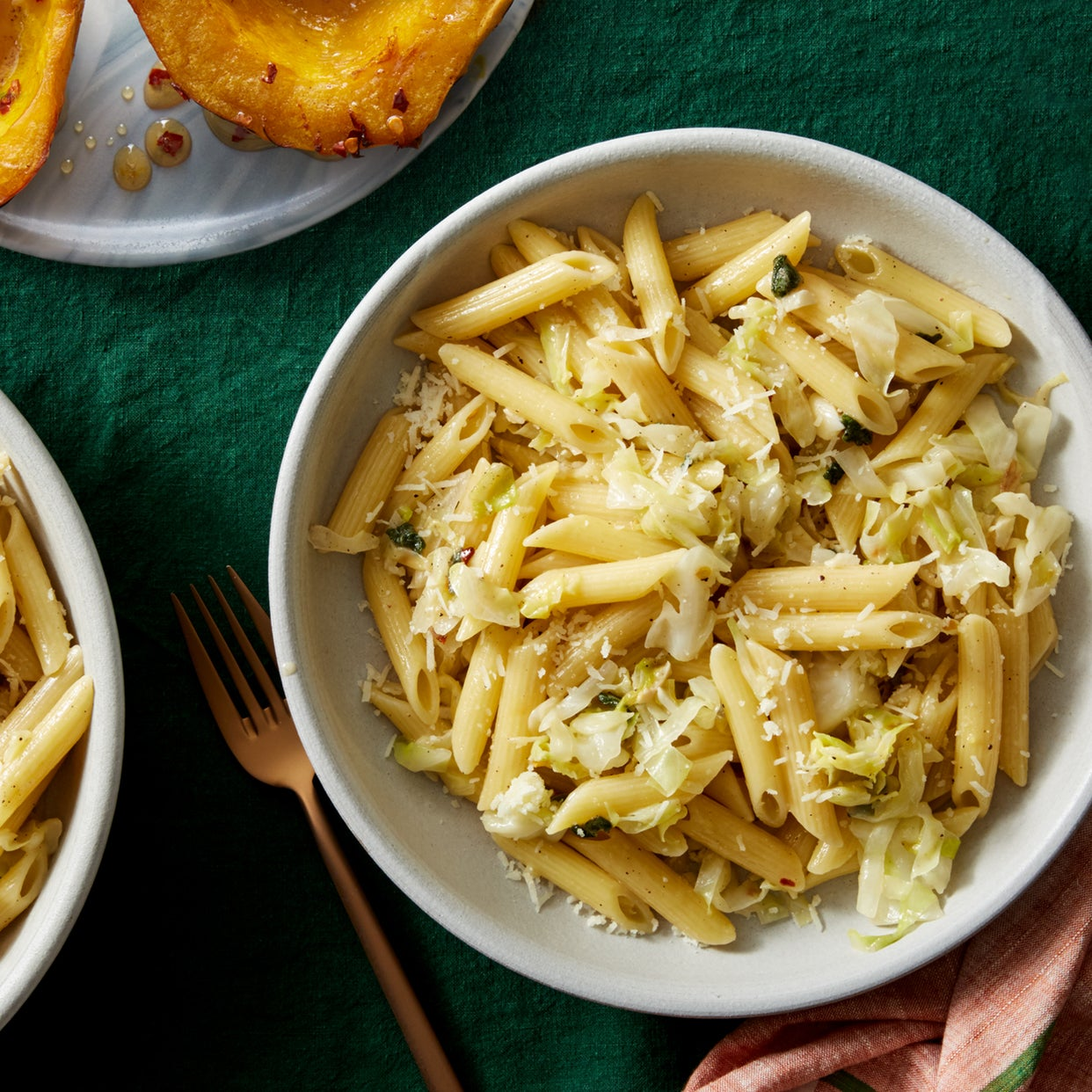Cabbage & Sage Pasta with Roasted Acorn Squash & Hot Honey
