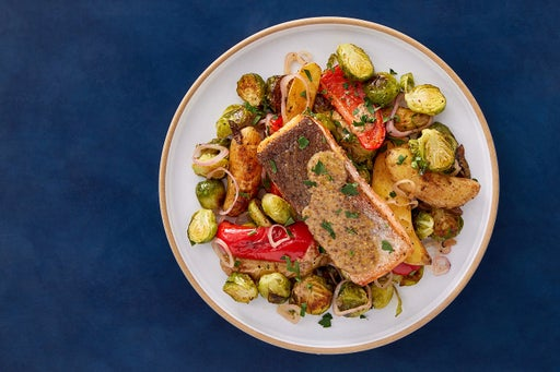 Crispy Steelhead Trout & Creamy Dijon Sauce with Roasted Potatoes, Peppers & Brussels Sprouts