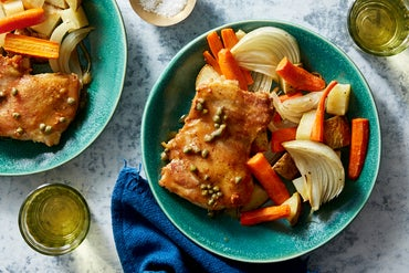Brown Butter & Caper Chicken with Roasted Vegetables