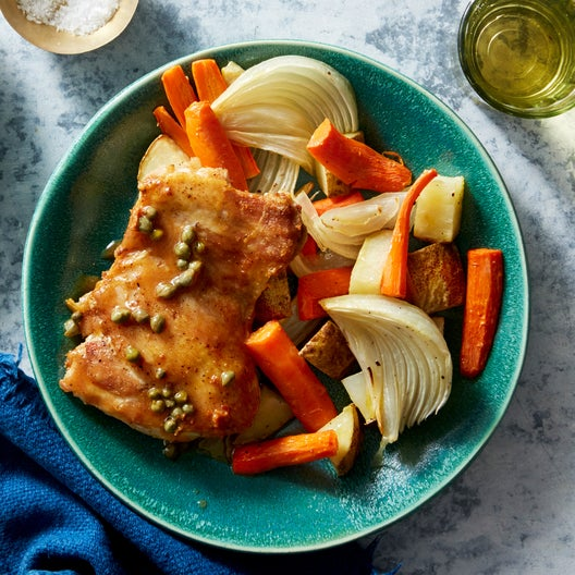 Browned Butter & Caper Chicken with Roasted Vegetables
