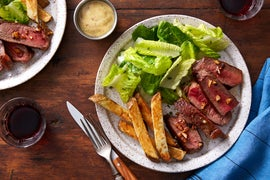 Seared Steaks & Garlic Butter with Oven Fries