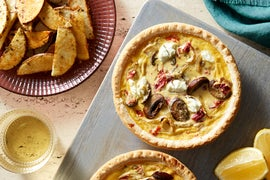 Mushroom & Cheese Quiches with Oregano-Roasted Potato