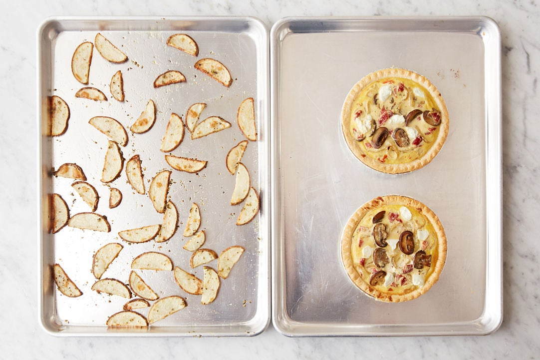 Bake the quiches & potato: