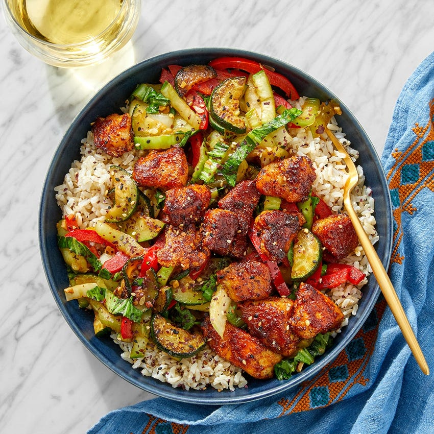 Curry-Glazed Chicken & Brown Rice with Zucchini, Bell Pepper & Bok Choy