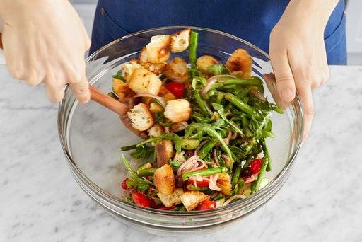 Make the panzanella & serve your dish