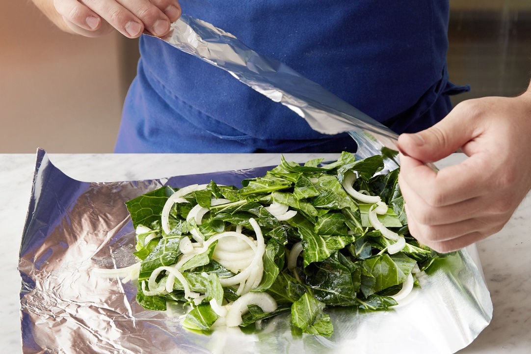 Assemble the collard greens packet: