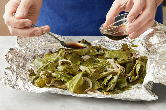 Finish the collard greens & serve your dish: