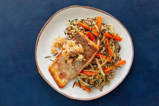 Crispy Skin Trout & Apple Compote with Roasted Vegetables & Salsa Verde Rice