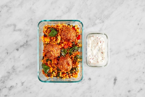 Assemble & Store the Pork Chorizo Meatballs & Veggie Pasta