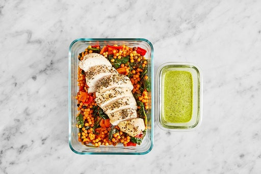 Assemble & Store the Creamy Pesto Chicken