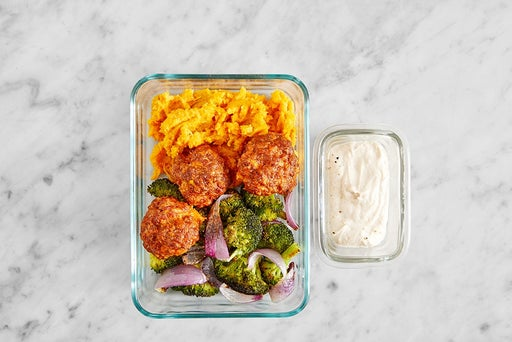 Assemble & Store the Lemon-Tahini Pork Chorizo Meatballs