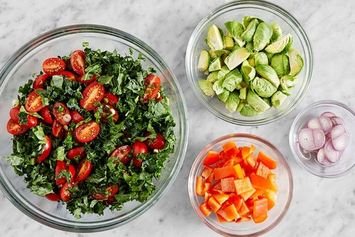 Prepare the remaining ingredients & make the kale salad
