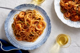 Spicy Shrimp Bucatini with Cabbage & Toasted Breadcrumbs