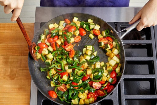 Cook the remaining vegetables & finish the rice