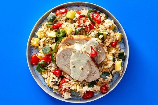 Finish & Serve the Tomatillo Pork & Rice
