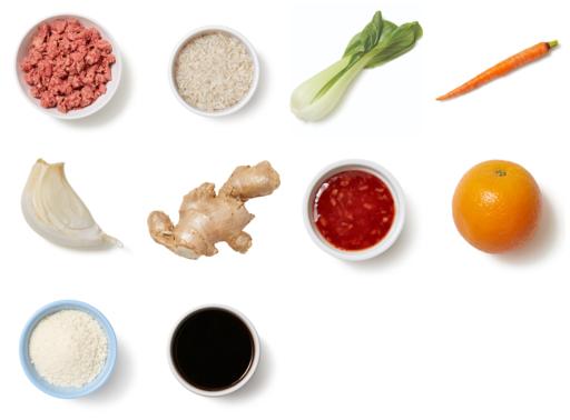 Orange-Glazed Meatballs with Vegetables & White Rice