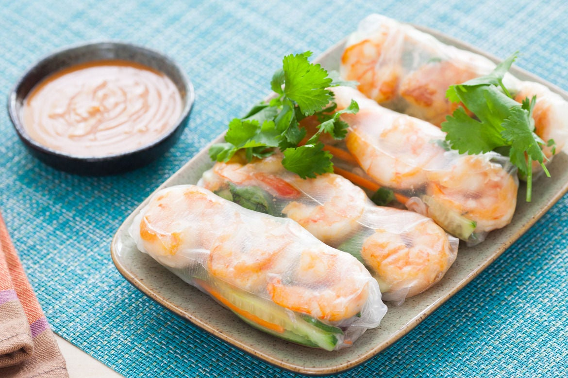 Recipe: Shrimp Summer Rolls with Spicy Peanut Dipping Sauce - Blue ...