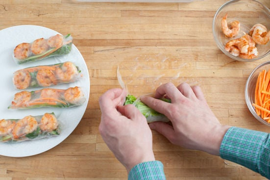 Assemble the summer rolls: