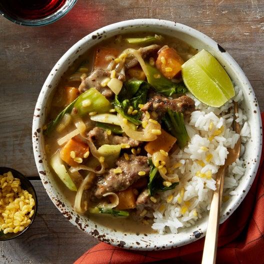 Thai Yellow Curry Beef with Bok Choy & Jasmine Rice