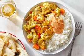 Coconut Curry Chicken & Cauliflower with Rice & Garlic Naan