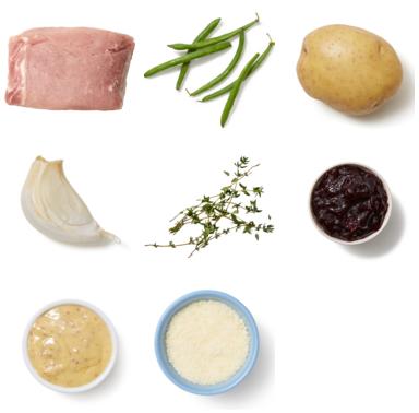 Sheet Pan Pork & Sour Cherry Sauce with Potatoes & Green Beans