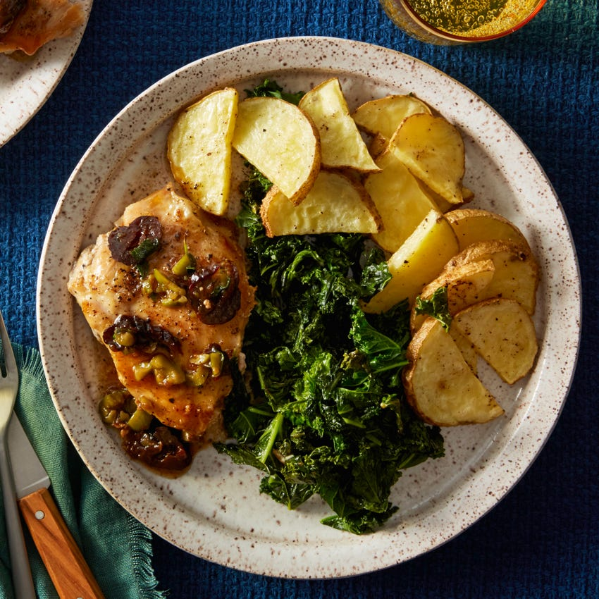 Chicken & Marbella Sauce with Oregano Roasted Potatoes