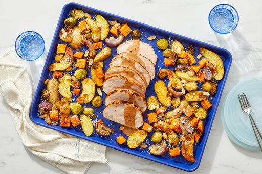 Sheet Pan Honey-Chipotle Pork Roast with Potatoes, Butternut Squash & Brussels Sprouts