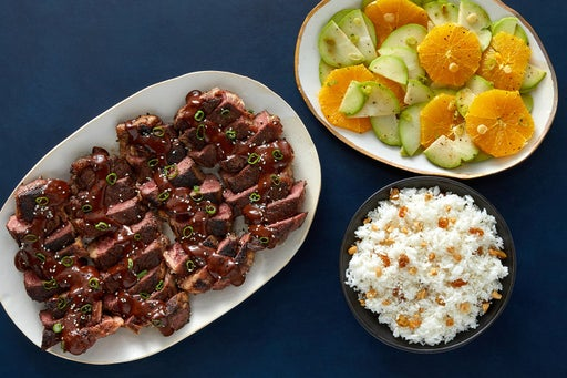 NY Strip Steaks & Mole Sauce with Chayote-Orange Salad & Rice