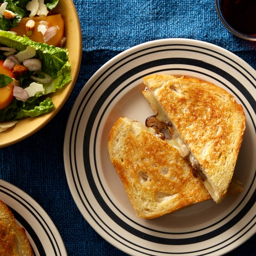 Mushroom Grilled Cheese Sandwiches with Persimmon Salad
