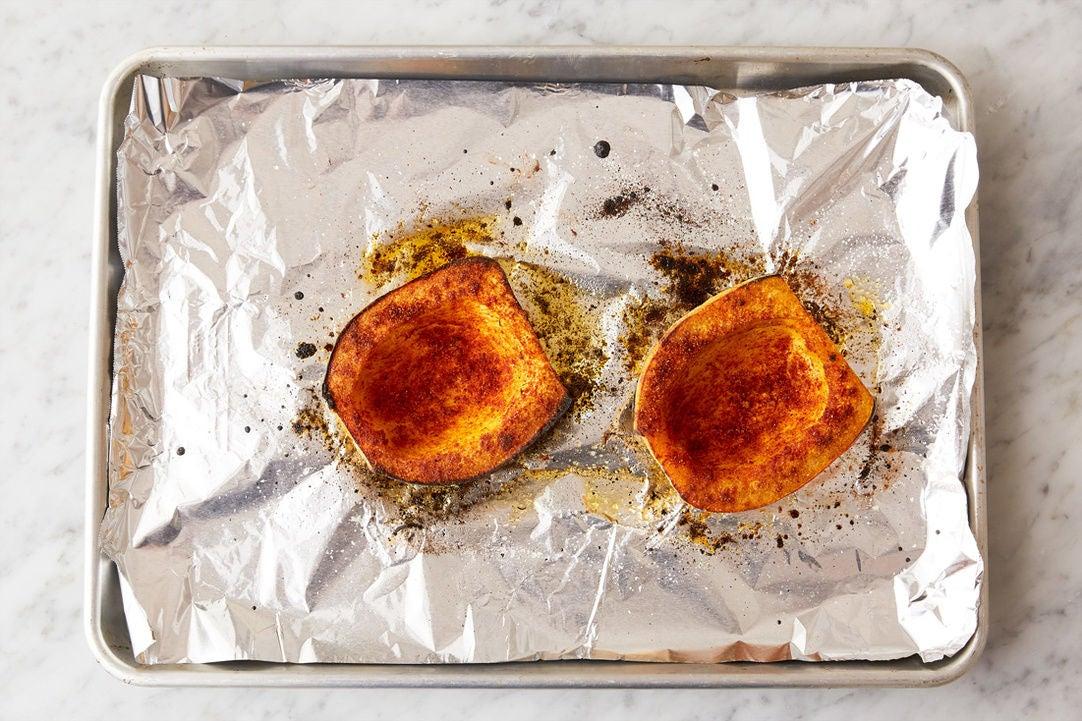 Prepare & roast the squash: