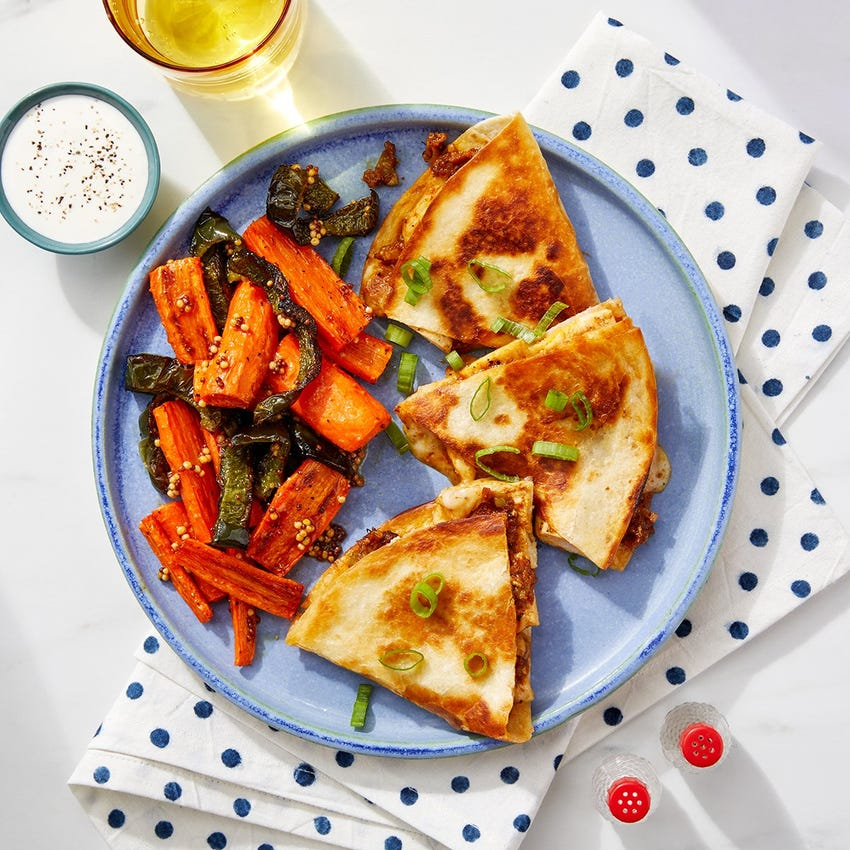 Chicken Korma Quesadillas with Pickled Mustard Seed Veggies & Lime Sour Cream