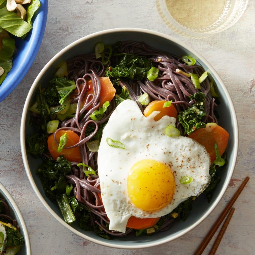 Black Rice Sesame Noodles with Beet, Bok Choy, & Peanut Salad