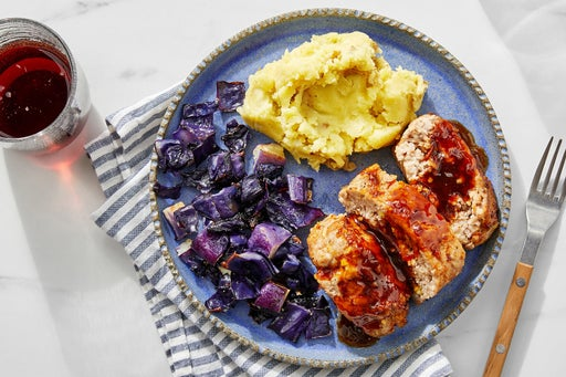 Soy-Glazed Pork Meatloaf with Sesame Mashed Potatoes & Roasted Cabbage