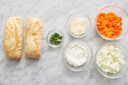 Prepare the ingredients & season the ricotta