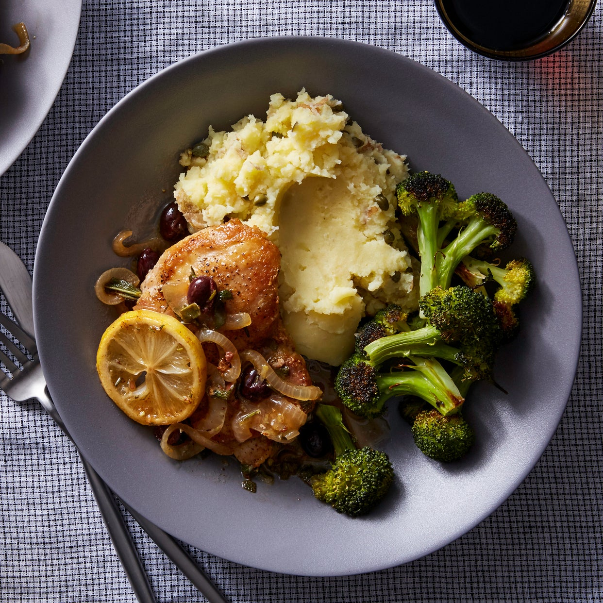 Braised Chicken & Smashed Potatoes with Olives, Herbs, & Broccoli