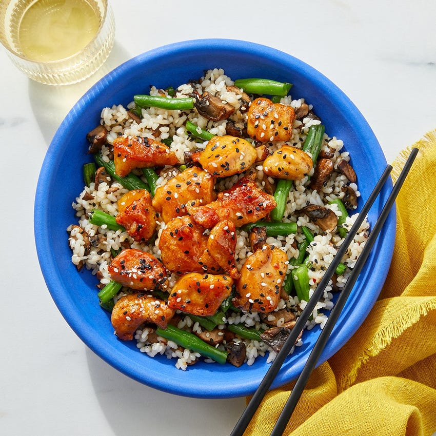 Soy & Butter-Glazed Chicken with Sesame Vegetables & Sushi Rice