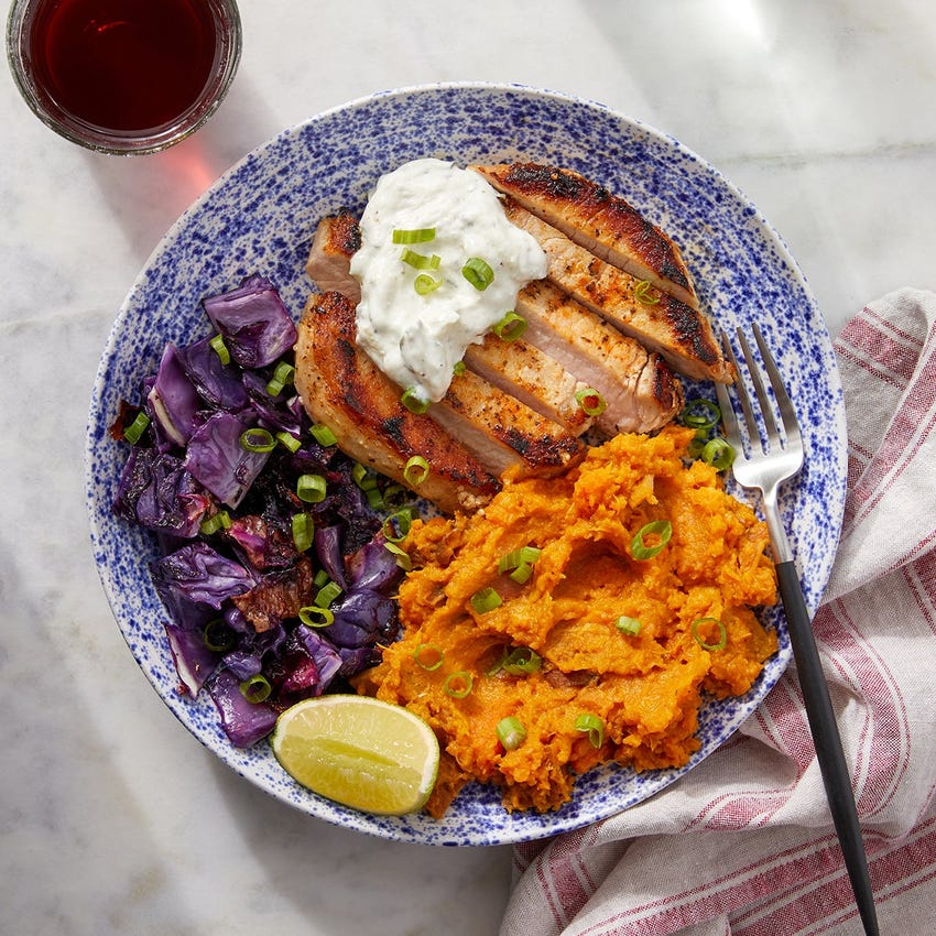 Seared Pork & Korma-Mashed Sweet Potatoes with Roasted Red Cabbage
