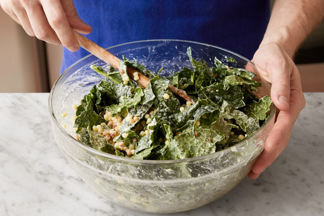 Dress the pasta & kale: