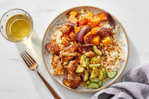 Togarashi Chicken & Brown Rice Bowls with Roasted Squash & Miso-Sesame Dressing